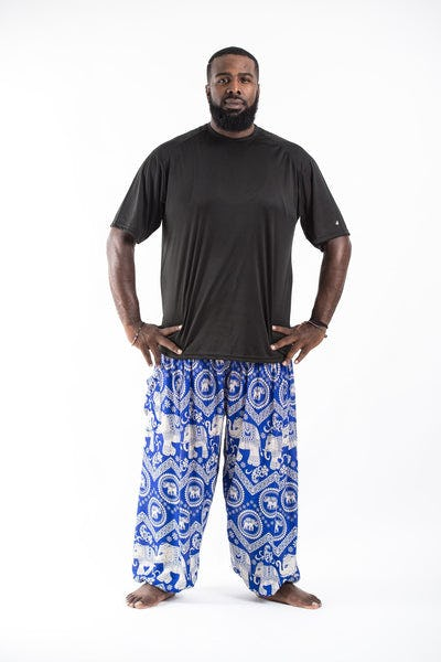 Plus Size Imperial Elephant Men's Harem Pants in Blue