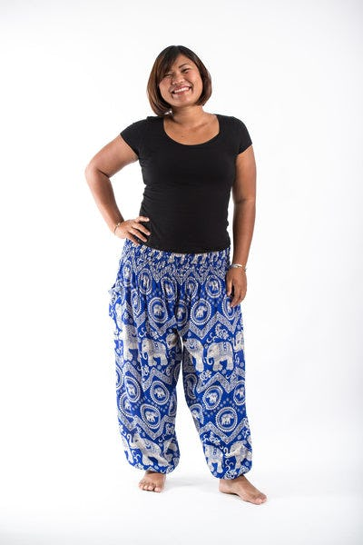 Plus Size Imperial Elephant Women's Harem Pants in Blue