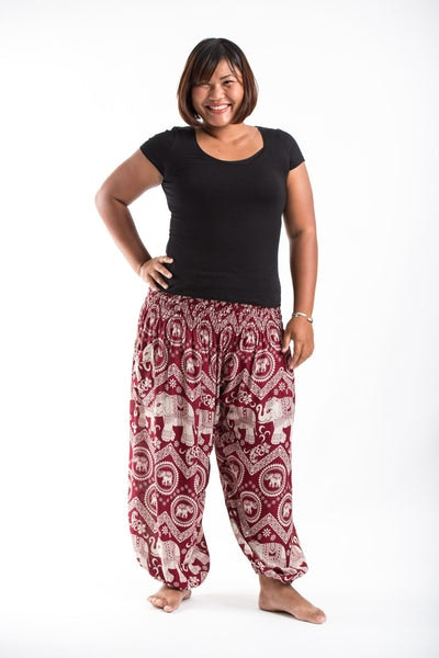 Plus Size Imperial Elephant Women's Harem Pants in Red