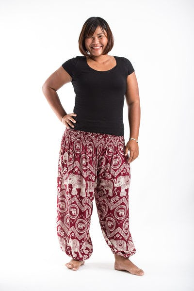 Plus Size Imperial Elephant Women's Elephant Pants in Red