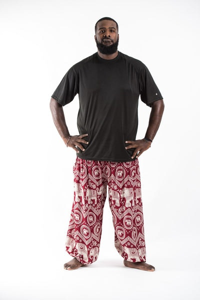 Plus Size Imperial Elephant Men's Harem Pants in Red