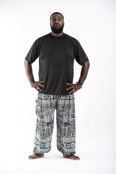 Plus Size Tribal Prints Men's Harem Pants in Black