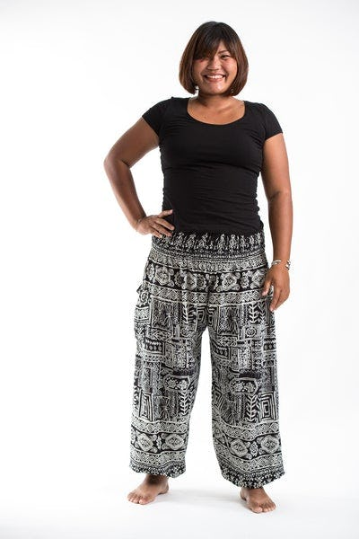 Plus Size Tribal Prints Women's Harem Pants in Black