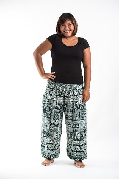 Plus Size Tribal Prints Women's Harem Pants in Green