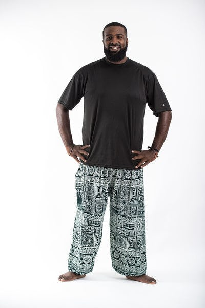 Plus Size Tribal Prints Men's Harem Pants in Green