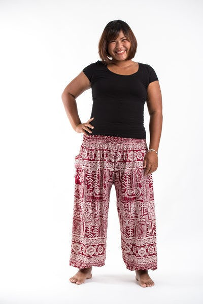 Plus Size Tribal Prints Women's Harem Pants in Red