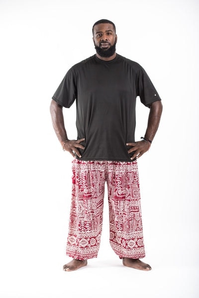 Plus Size Tribal Prints Men's Harem Pants in Red