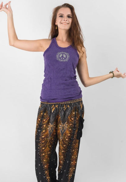 Super Soft Sure Design Women's Tank Tops Peace Sign Grape
