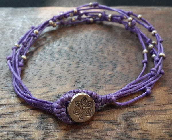 Fair Trade Thai Hill Tribe Silver Bead Multi Strand Bracelet Purple