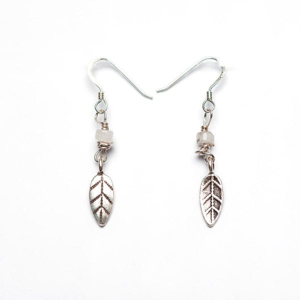 Thai Hand Made Hill Tribe Artisan Silver Earrings Feather Moonstone