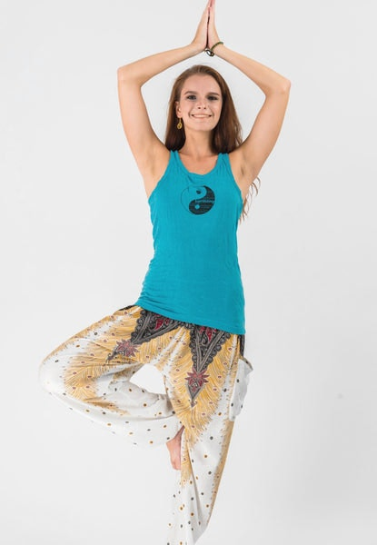 Super Soft Sure Design Women's Tank Tops Yin Yang Turquoise