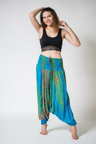 Peacock Feather Jumpsuit Harem Pants in Turquoise