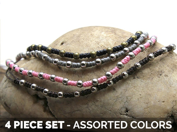 Waxed Cotton with Beads Bracelets 4 Pcs. PACK