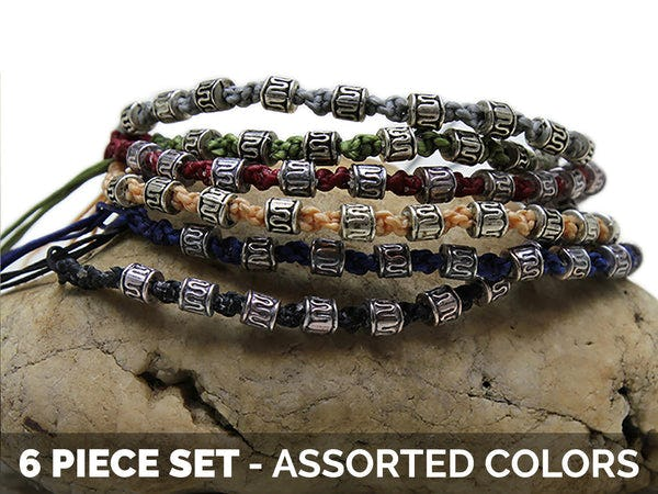 Waxed Cotton Woven Bracelet With Tribal Beads 6 Pcs. PACK
